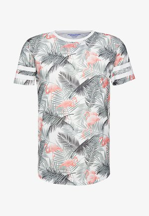 JORDIZ TEE CREW NECK - Print T-shirt - cloud dancer/flamingo
