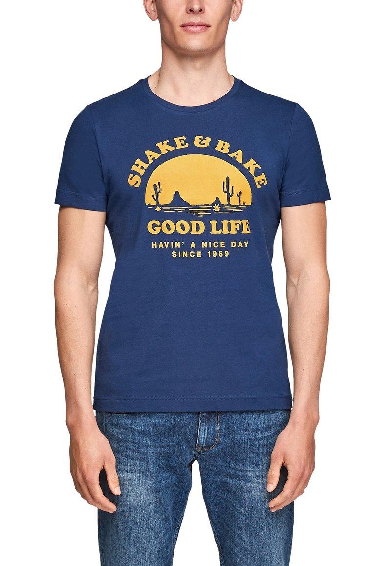s.Oliver - MIT SCHRIFTPRINT - Print T-shirt - blue good life print