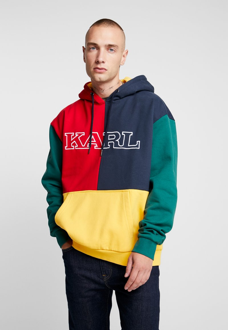 Karl Kani - COLLEGE BLOCK - Sweat à capuche - yellow/green/red/navy