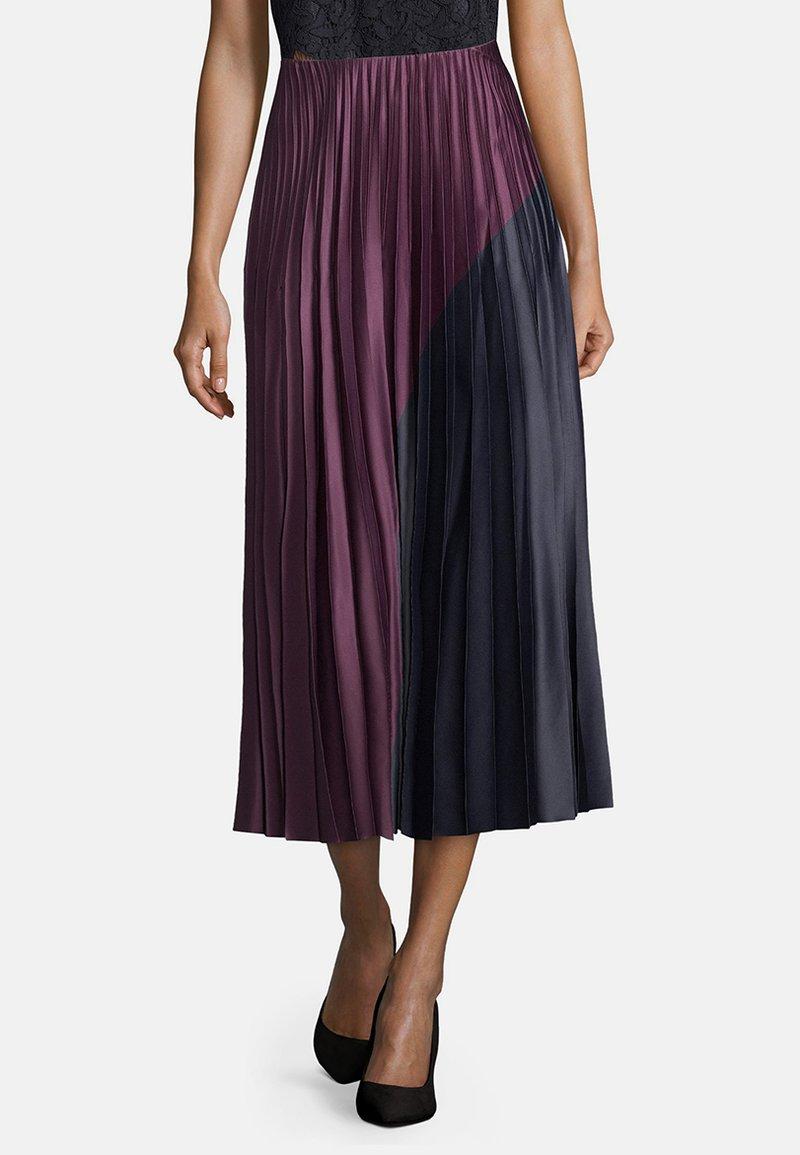 Vera Mont - MIT COLOR BLOCKING - A-line skirt - purple/grey