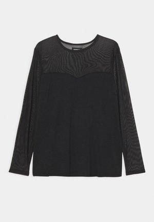 MESH INSERT TOP - Long sleeved top - black