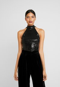 Dorothy Perkins - SEQUIN BOW BACK HALTER - Bluser - black - 0