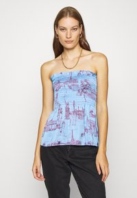 Who What Wear - SMOCKED STRAPLESS - Top - toile blue/burgundy - 0