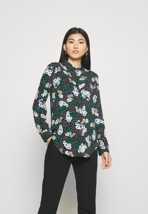 FLORAL CASUAL - Button-down blouse - black
