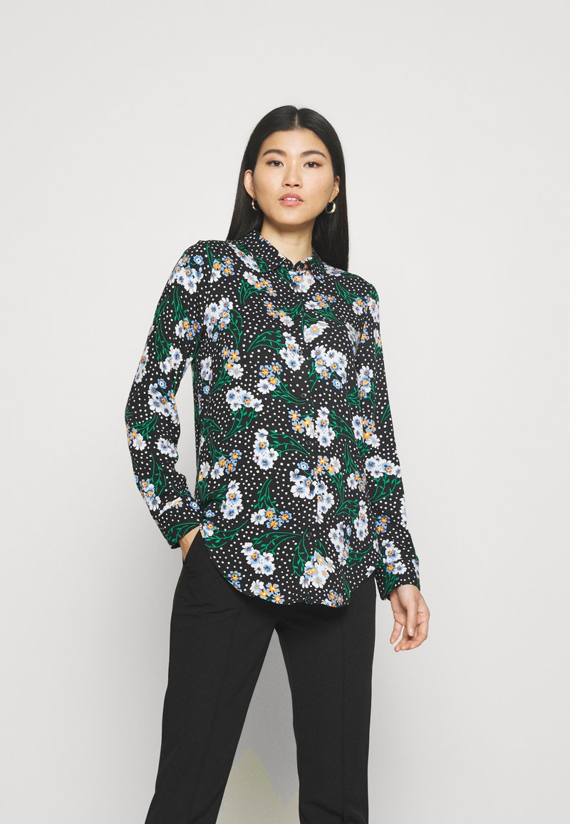 Marks & Spencer London - FLORAL CASUAL - Button-down blouse - black