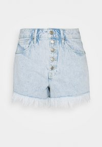 BOMBSHELL EXPOSED BUTTON - Denim shorts - blue