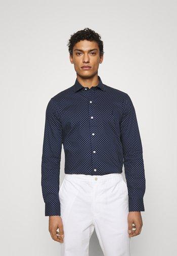 SLIM FIT DOT-PRINT POPLIN SHIRT - Shirt - dark blue