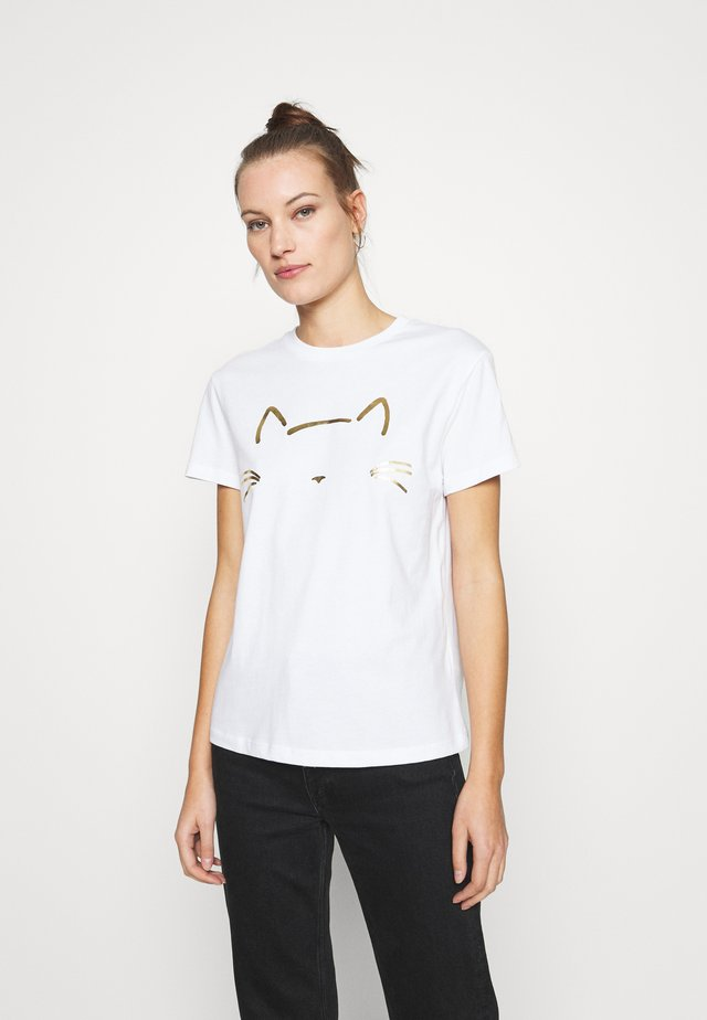 CAT PRINTED TEE - Printtipaita - white
