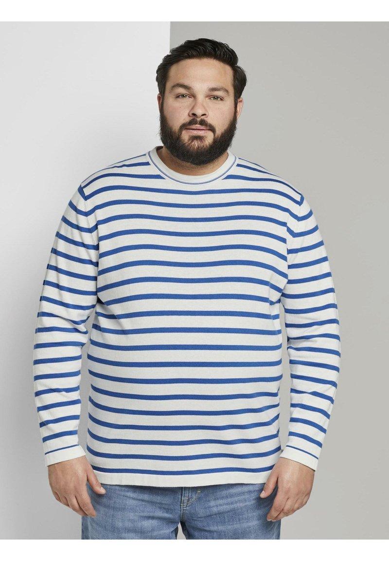 TOM TAILOR MEN PLUS - Jumper - white victory blue stripe