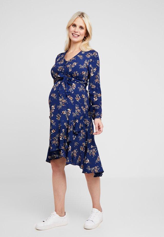 JULIETTE TIE FRONT DRESS - Skjortklänning - navy