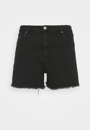 MOM HIGH WAIST - Denim shorts - midnight black