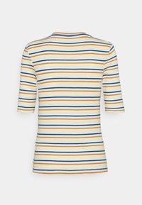 TOM TAILOR DENIM - STRIPED MOCKNECK TEE - Print T-shirt - creme/blue/yellow - 1