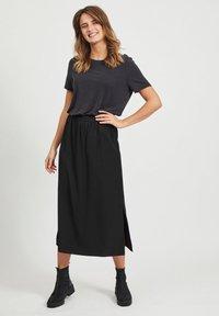 Object - MAXIROCK EINFARBIGER GESCHLITZTER - A-line skirt - black - 1