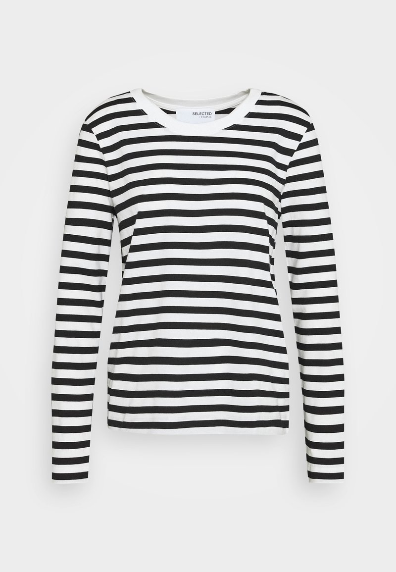 Selected Femme - SLFSTANDARD TEE  - Long sleeved top - black/snow white