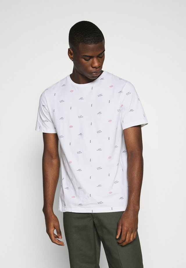 CLASSIC CREWNECK TEE WITH ALL OVER PATTERN - T-shirts med print - white