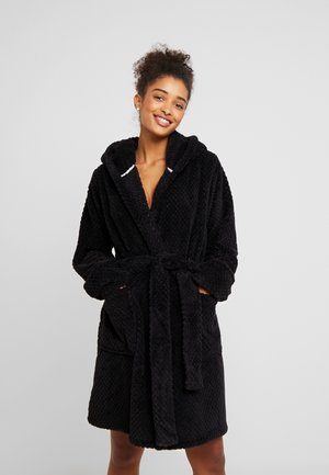HOODED LUXE PLUSH GOWN - Bademantel - black