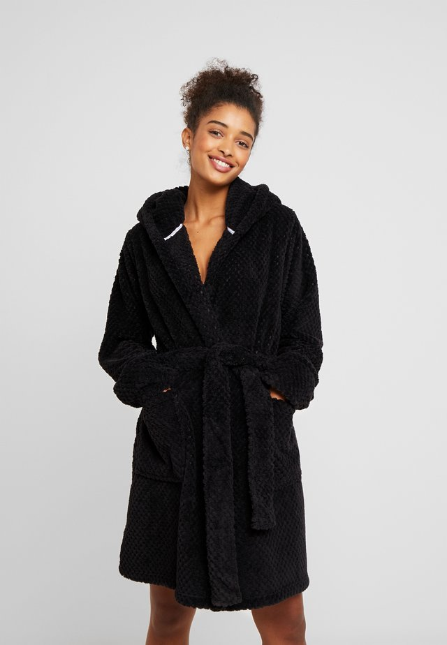 HOODED LUXE PLUSH GOWN - Accappatoio - black