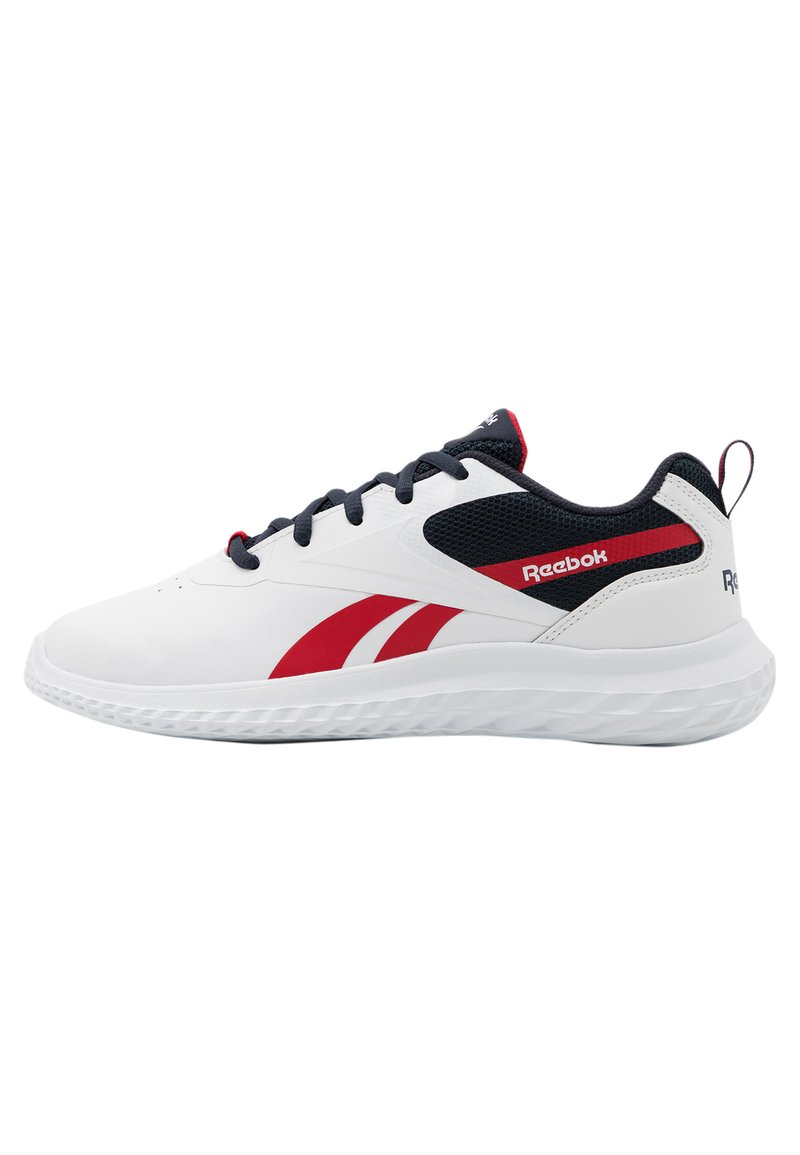 Reebok - RUSH RUNNER 3.0 UNISEX - Neutral running shoes - white/night navy/vector red