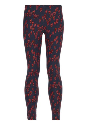 MIT HERZPRINT - Leggings - Trousers - rot - 210c - blu/cuori rossi