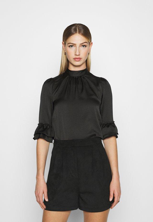 HIGH NECK 3/4 SLEEVE BLOUSE - Long sleeved top - black