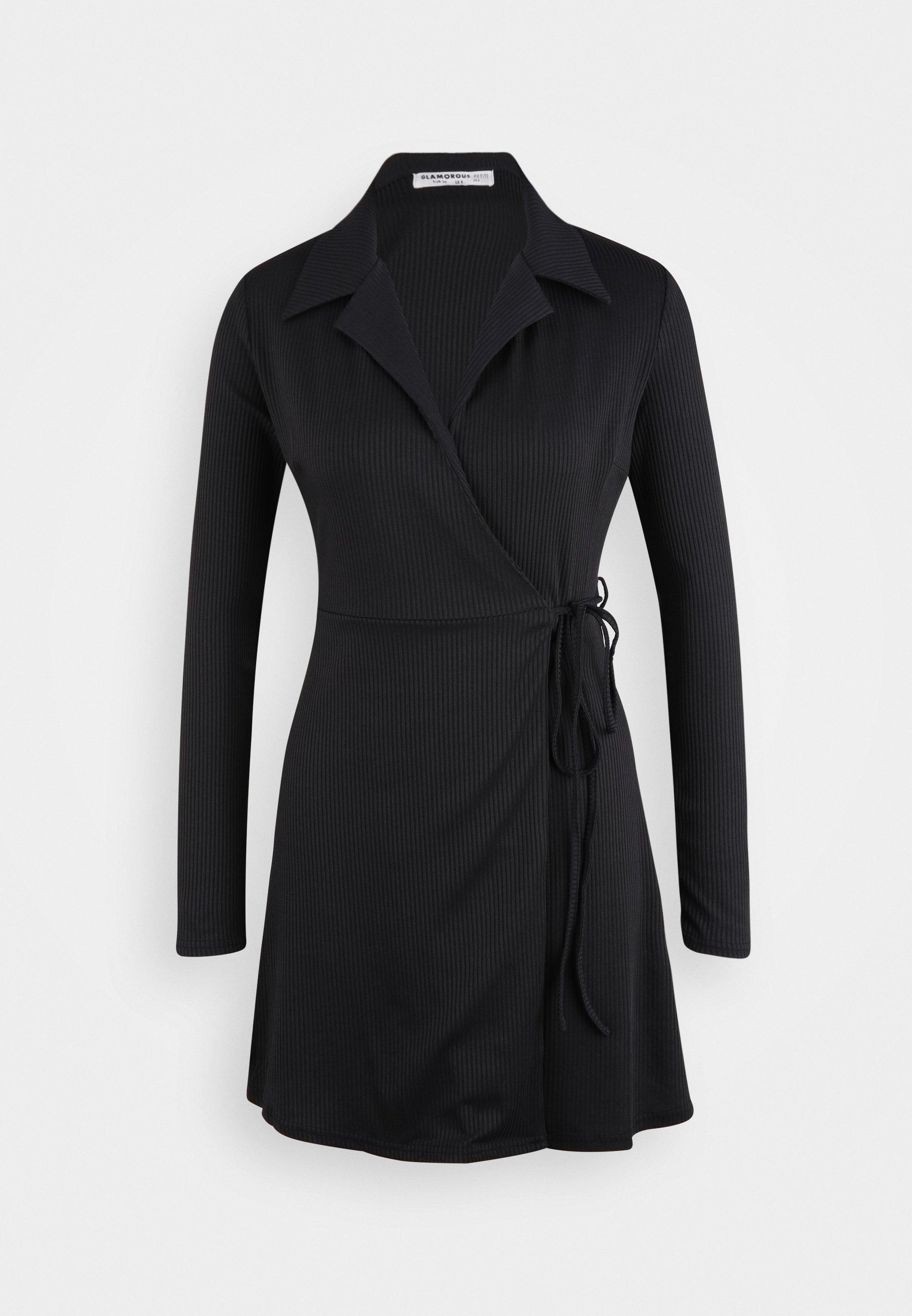 Damen COLLARED RIB WRAP MINI DRESS - Freizeitkleid - navy
