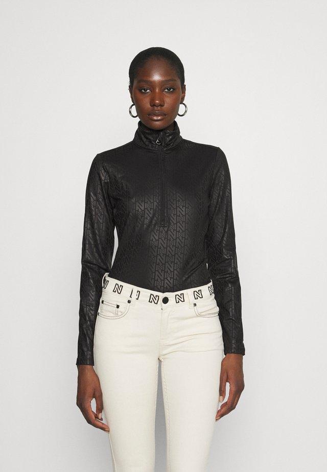 LOGO ZIPPER PULLY - Long sleeved top - black