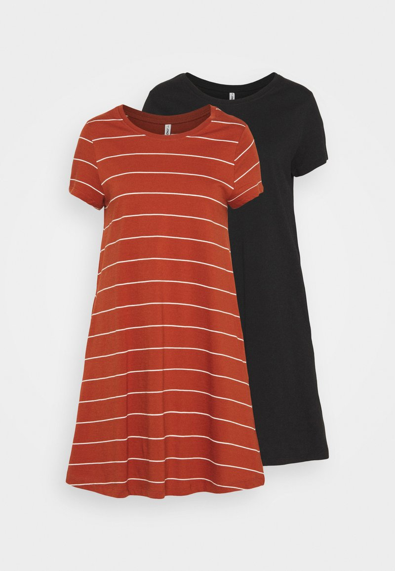 ONLY Tall - ONLMAY LIFE POCKET DRESS 2 PACK - Jersey dress - black/arabian spice cloud dancer