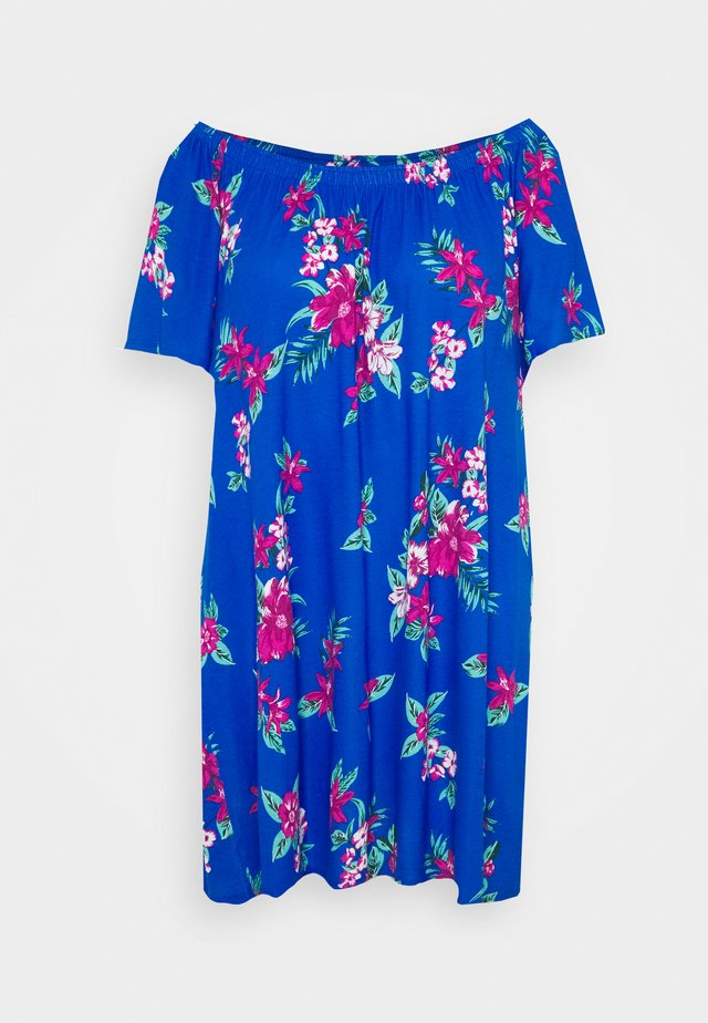 FLORAL BARDOT DRESS - Trikoomekko - blue