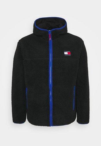 PLUS SHERPA ZIP THRU HOODIE - Fleece jacket - black