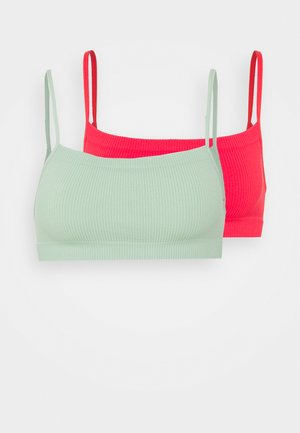 SEAMFREE STRAIGHT NECK CROP 2 PACK - Bustier - mint chip/fiesta red