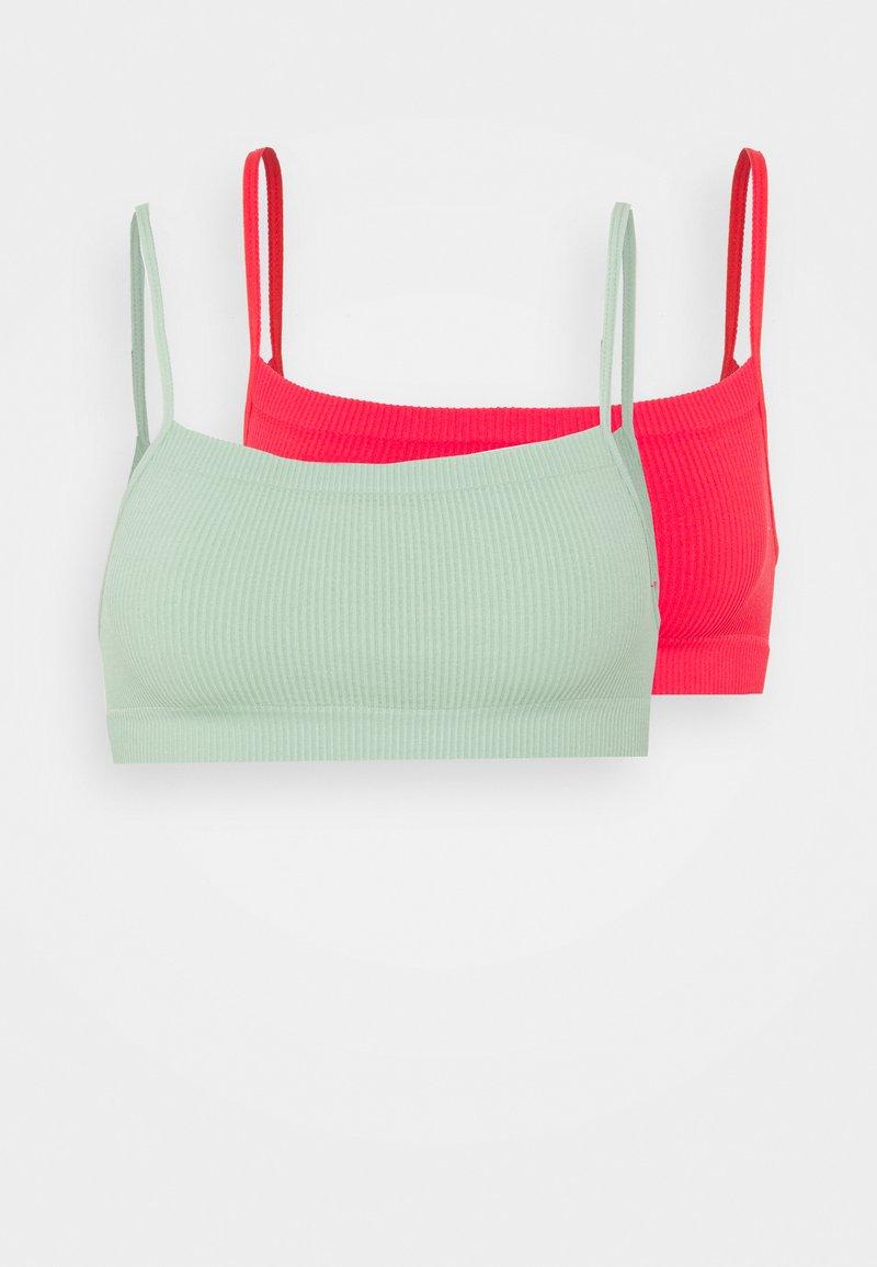 Cotton On Body - SEAMFREE STRAIGHT NECK CROP 2 PACK - Bustier - mint chip/fiesta red
