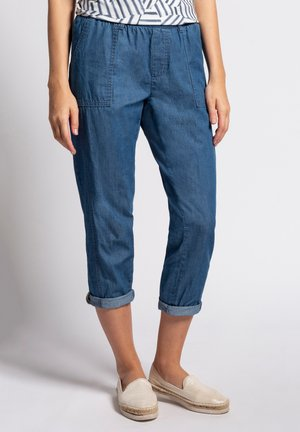 GINA LAURA DAMEN 7/8 , ELASTISCHER BUND, ZIERNAHT 74877 - Cargo trousers - blue denim