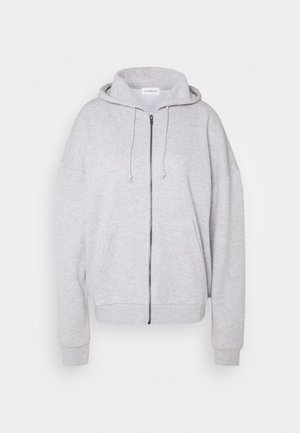 Oversized Hooded Sweat Jacket - Collegetakki - mottled light grey