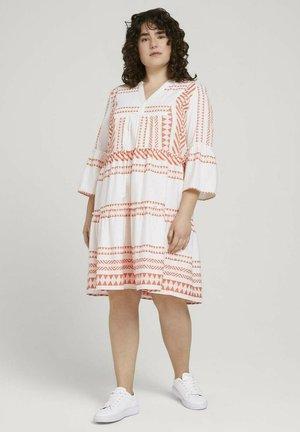 Shirt dress - white orange large ikat design