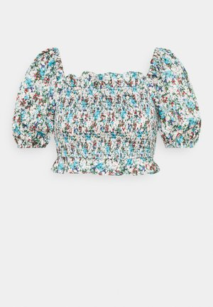 SHIRRED WITH PUFF SHORT SLEEVES AND SQUARE NECKLINE - Blouse - confetti