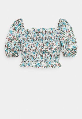 SHIRRED WITH PUFF SHORT SLEEVES AND SQUARE NECKLINE