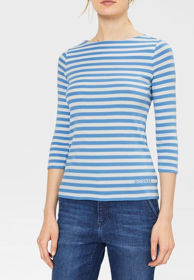 Long sleeved top - hellblau/weiß