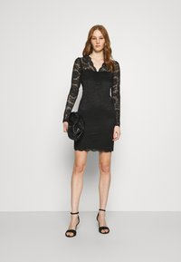 Vila - VIELLISA V NECK DRESS - Shift dress - black - 1