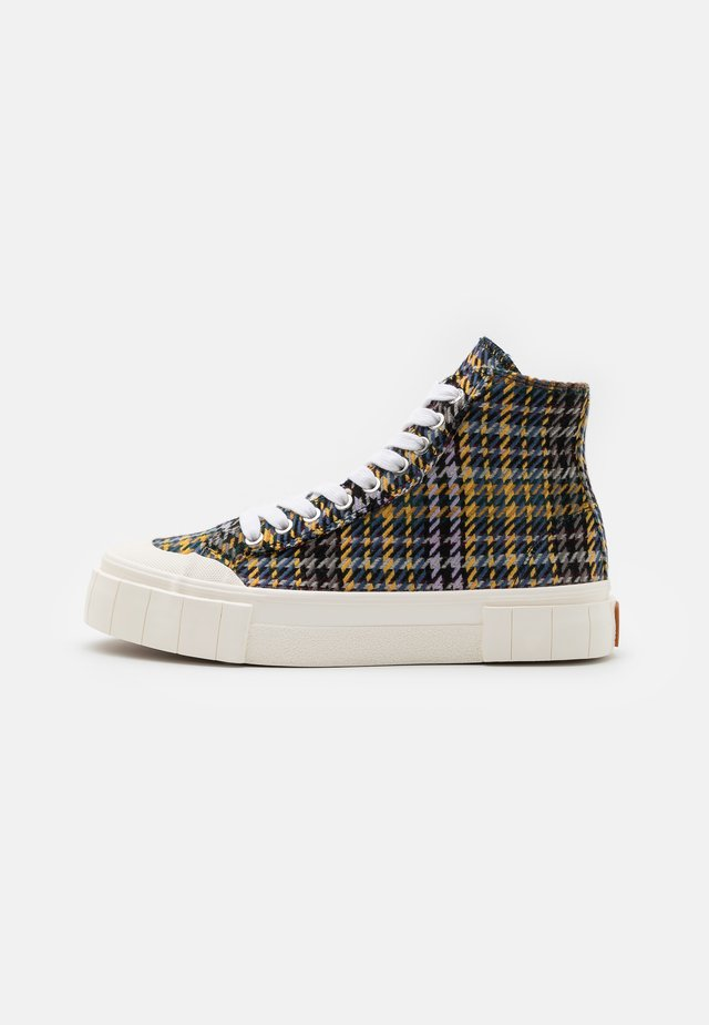 PALM CHECK - Sneakers hoog - blue/yellow