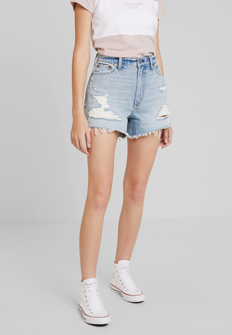Abercrombie & Fitch - LIGHT DESTROY CUFF HIGH RISE - Jeans Shorts - stone blue denim