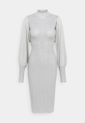 METALLIC PUFF SLEEVE MIDI DRESS - Shift dress - silver