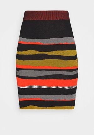 SHIRA SKIRT - Mini skirt - black/red/grey