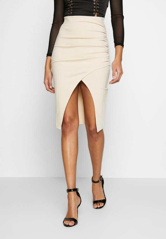 SLIT SKIRT - Mini skirt - natural