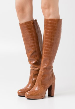 MARIE - High heeled boots - cognac