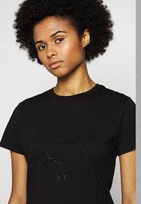KARL LAGERFELD - PROFILE RHINESTONE TEE - T-shirt z nadrukiem - black - 3