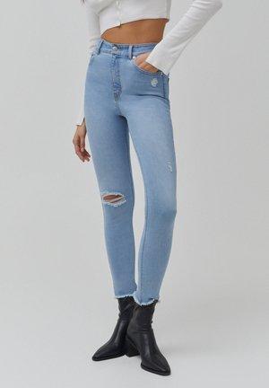 SKINNY HIGH WAIST - Skinny-Farkut - mottled light blue