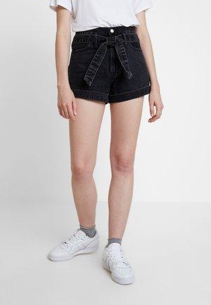 BELTED ULTRA HIGH RISE - Denim shorts - black