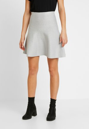 Mini skirt - light grey melange/silver