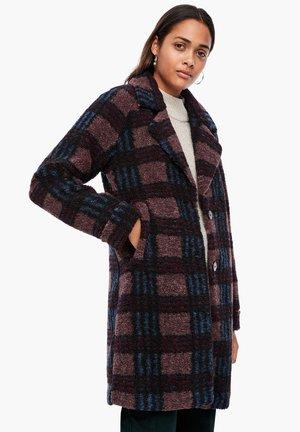 Short coat - dark ruby check