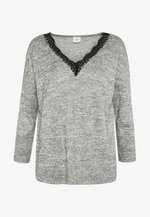 JDYCHOICE TREATS V-NECK - Neule - light grey melange/black